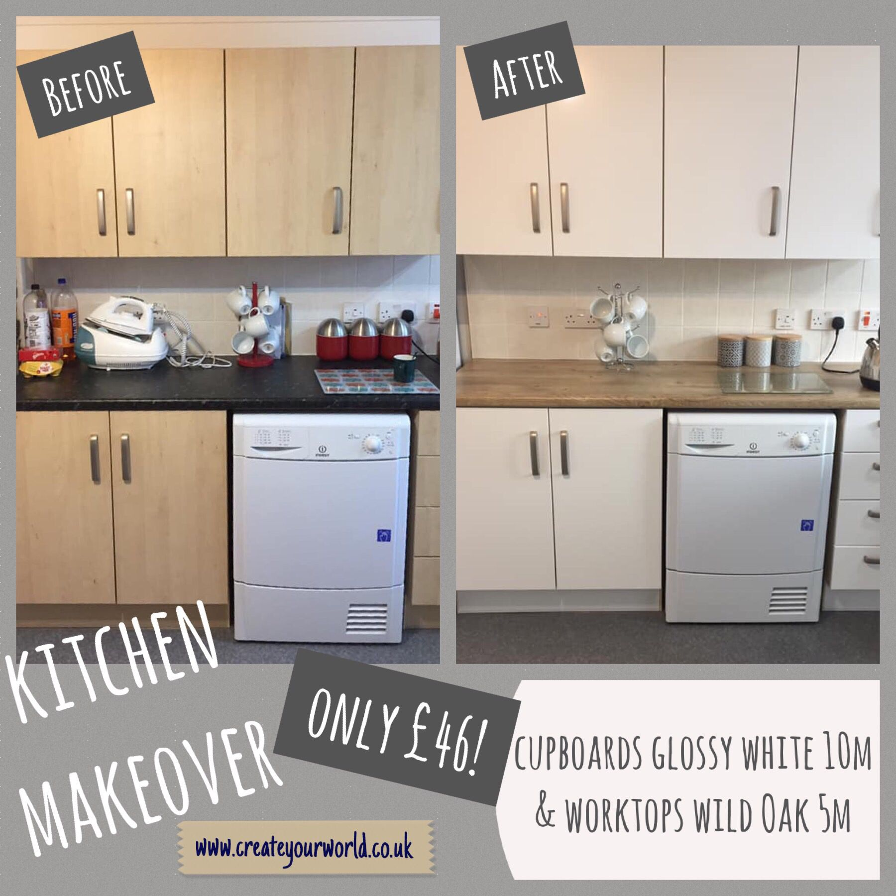D C Fix Sticky Back Plastic Glossy White Ral 9016 67 5cm X 10m Rental Kitchen Makeover Kitchen Cupboard Designs Diy Kitchen Renovation