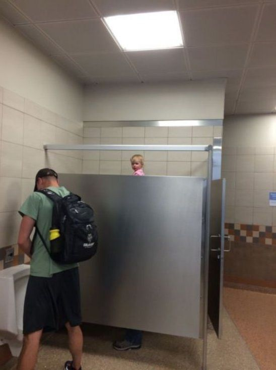 Urinal Peekaboo Little Girl Peeks Over Bathroom Stall Too Tall Baby Wtf Best Hilarious