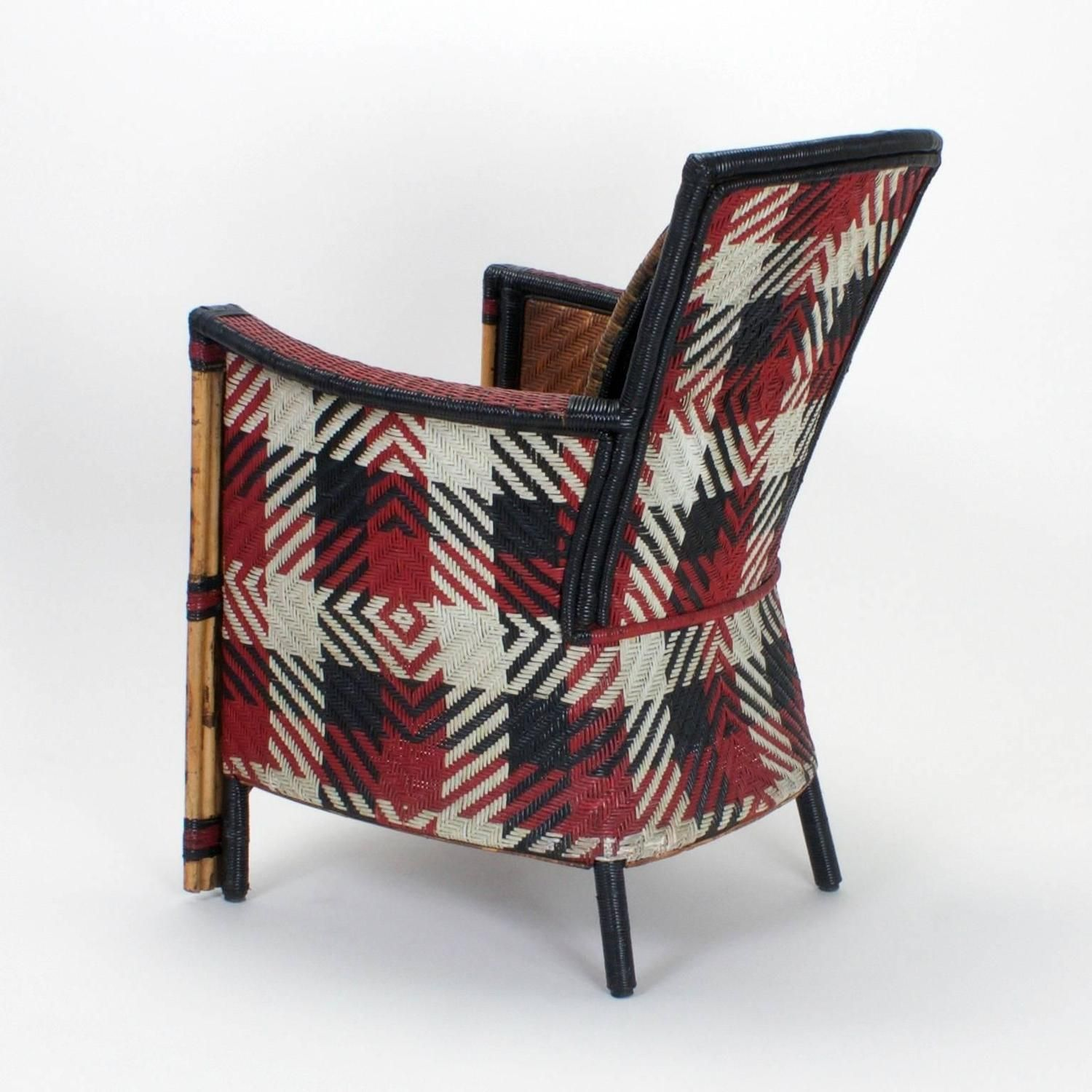 Pair of Rare Woven Cane Armchairs with Painted Backs 5