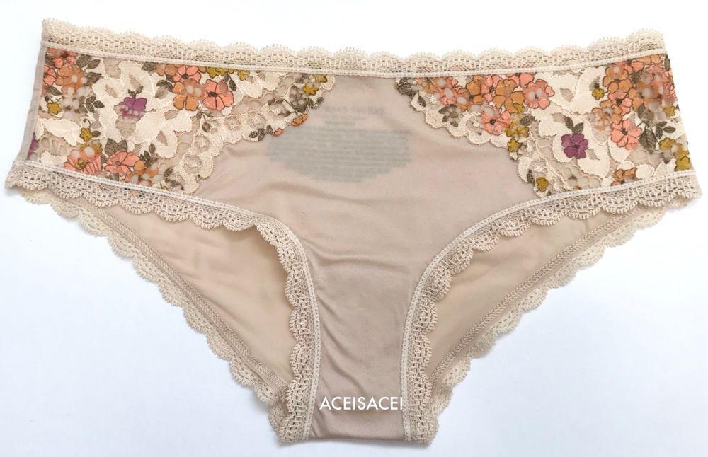 1e56c23272 NWT Victoria s Secret BODY BY VICTORIA FLORAL SIDES HIPHUGGER PANTY-CREME-- XS