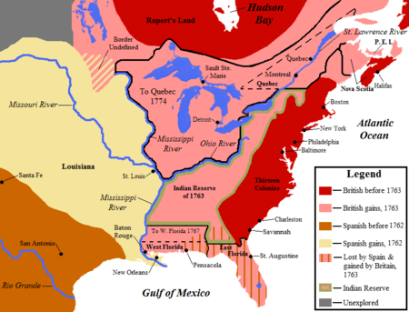 Map Showing British Territorial Gains Following The Treaty Of Paris