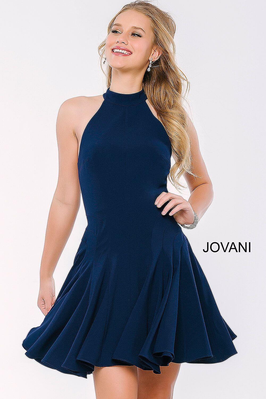This #jovani 42455 navy halter swing dress is SO fun. | prom | Pinterest