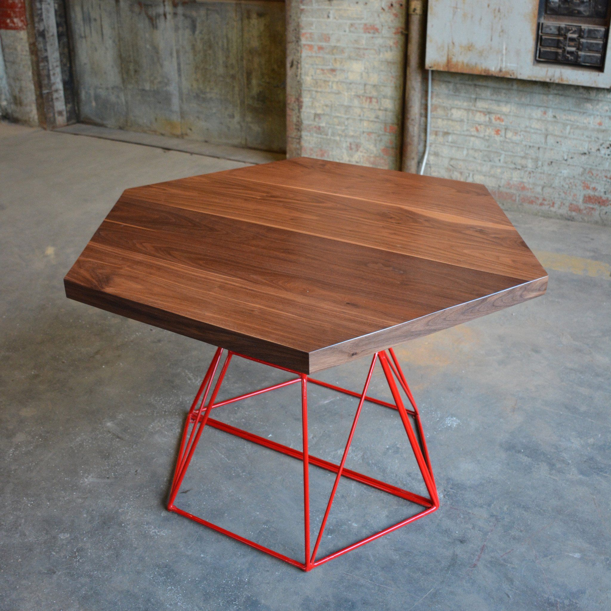Cool Modern Hexagon Dining Table With Extension Top In Walnut And Pabps2019 Chair Design Images Pabps2019Com
