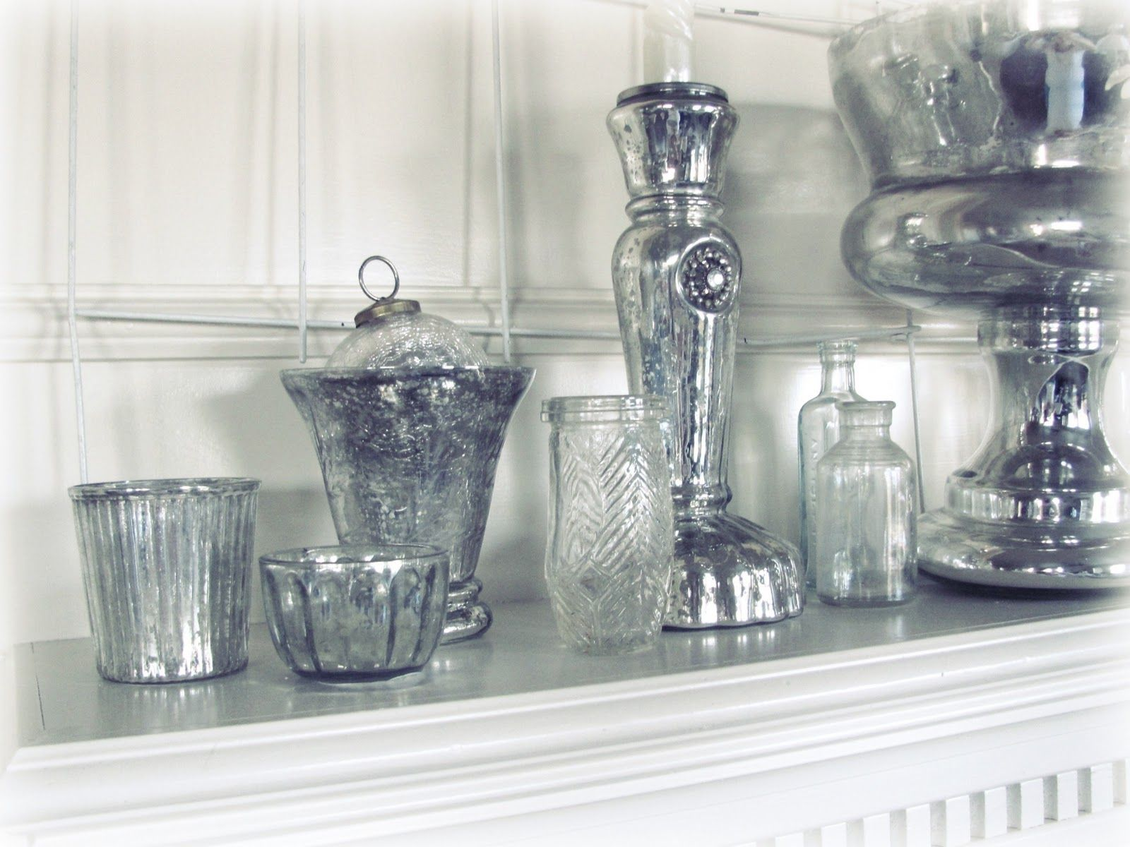 mercury glass and vintage bottles collection