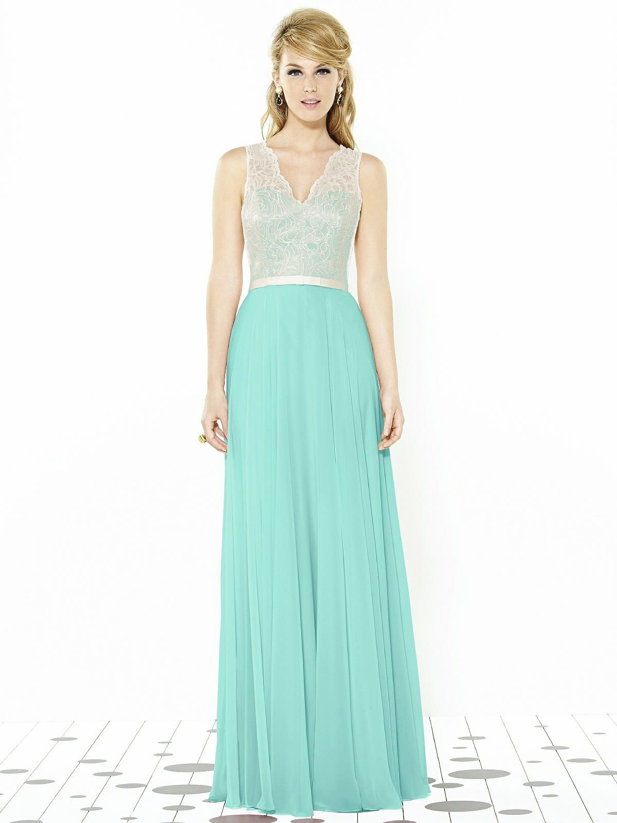 After six bridesmaids style full length dresses bow belt and