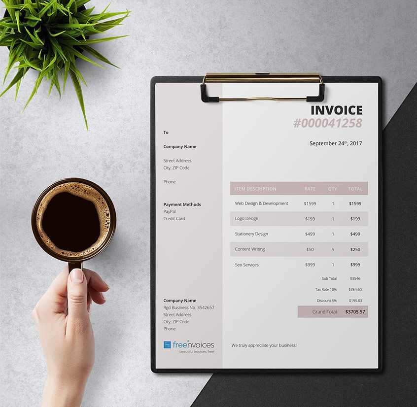 Free Invoice Template with a Feminine Touch   Free Invoice Templates     Free Invoice Template with a Feminine Touch