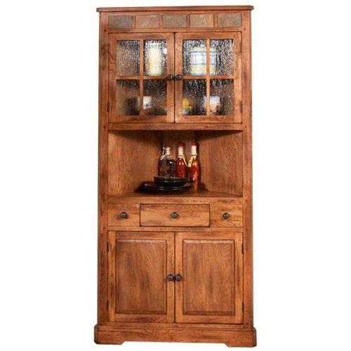 Sunny Designs Sedona Oak Corner China Cabinet With Slate   John V Schultz  Furniture   China