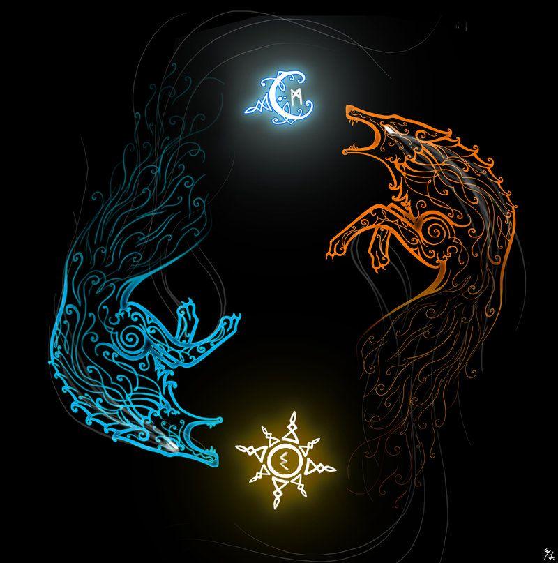 Image of Hati and Skoll Wolf Symbol