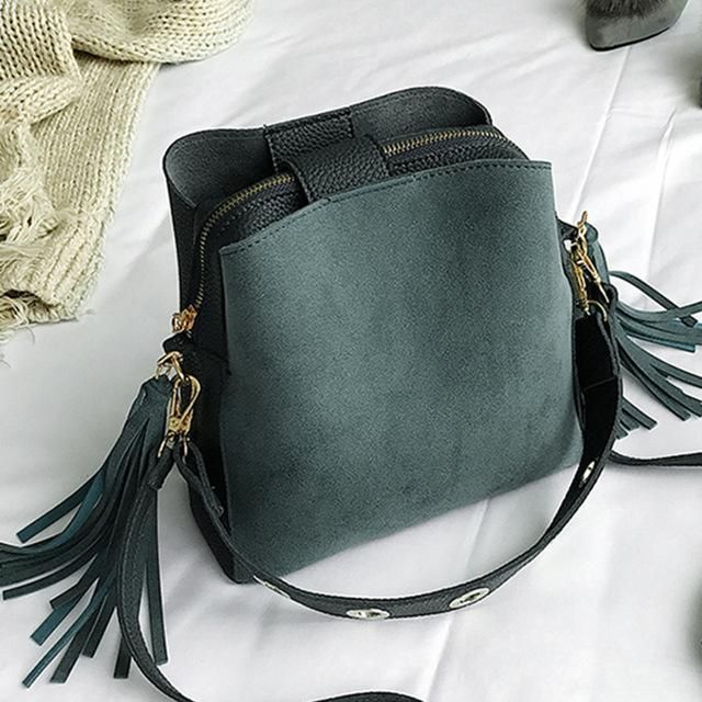 Photo of 2019 Fashion Scrub Women Bucket Bag Vintage Tassel Messenger Bag High Quality Re…