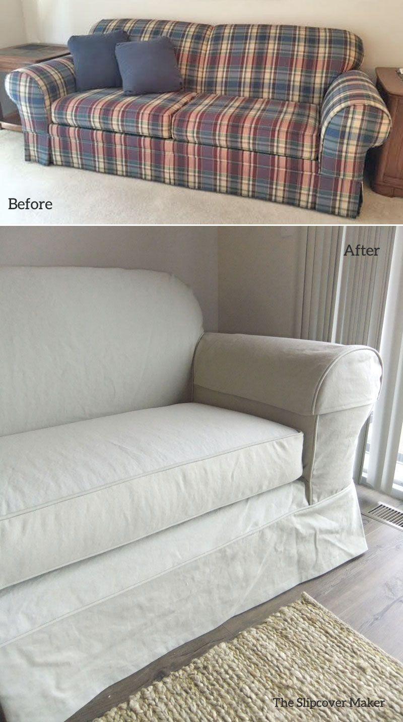 buffalo check sofa cover belle faux leather convertible futon bed khaki denim replacement slipcover condo living