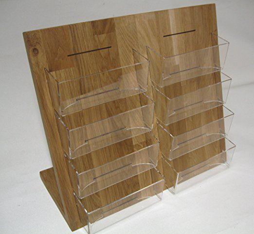 4x Din A6 Postkartenhalter Aus Eiche Holz Acryl Tischmodell