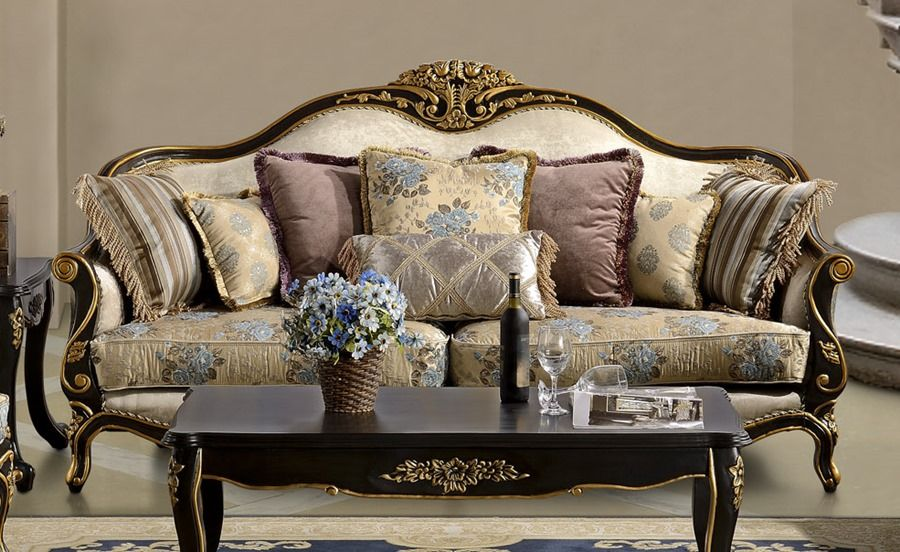 Black Accented Formal Living Room Sofa Set European Style