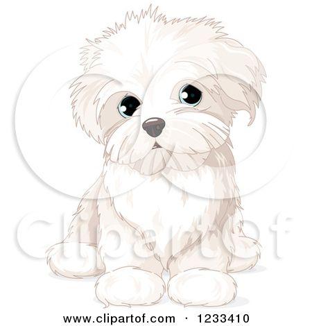 Clipart of a Cute Bichon Frise or Maltese Puppy Dog Sitting