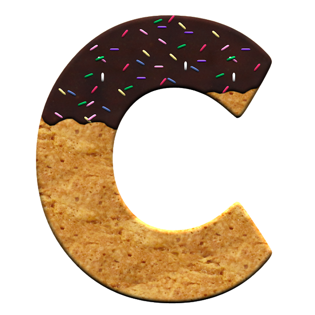 Buchstabe Letter C Cookie Vector Heart Shaped Cookies Cookies Light
