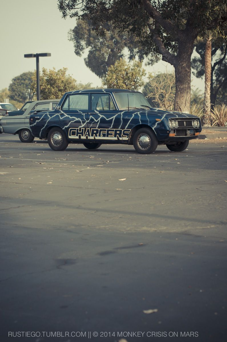 San Diego Chargers themed Toyota Corona at Mission Bay