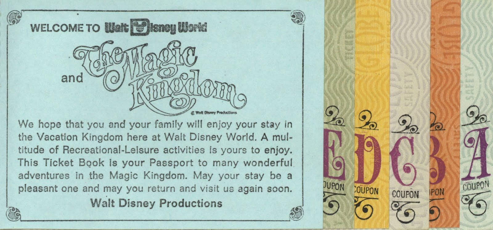 Magic Kingdom Ticket Pack With The Coveted E Tickets Who Wants Some Left Over A And B Tickets Walt Disney Word Disney Word Walt Disney World Tickets
