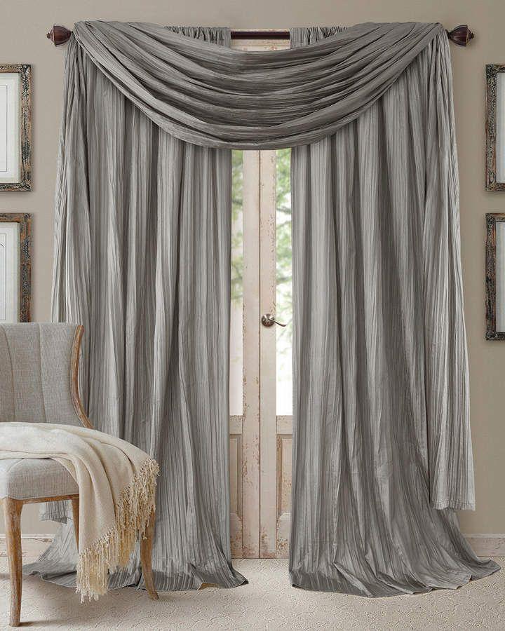 Elrene Athena 108 Faux Silk Window Curtain Scarf Set Curtains