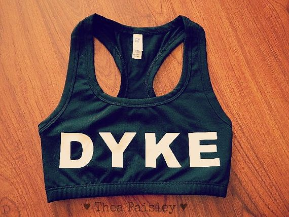 821f4f53cb318 OMG I LOVE THIS. ---Dyke Sport Bra  Crop Top by theapaisley on Etsy ...