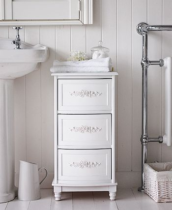 White Rose Bathroom Cabinet With 3 Drawers For Storage From The White Lighthouse Bathroom Furniture Storage White Bathroom Cabinets Bathroom Storage Cabinet