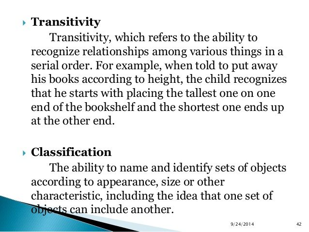 Transitivity Transitivity Which Refers To The Ability To