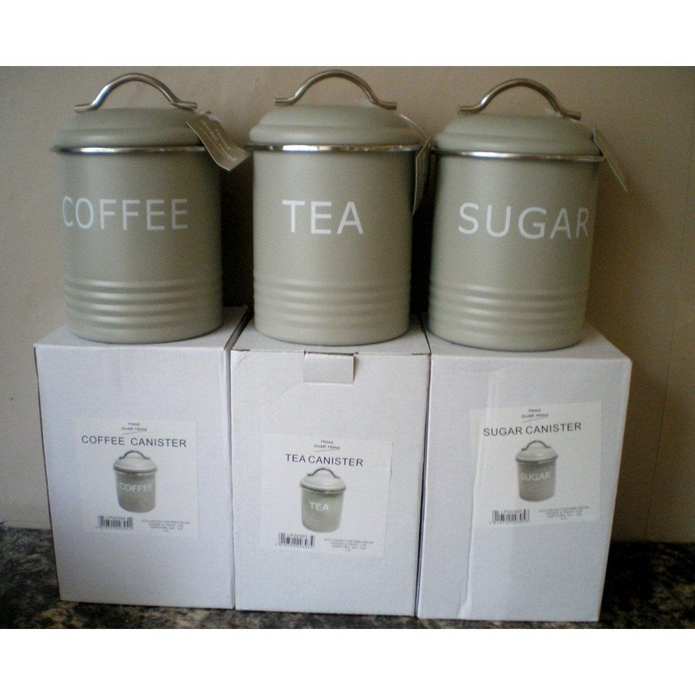 Tea Coffee Sugar Matt Enamel Kitchen Storage Jars Tins