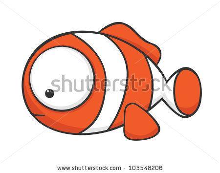 Cute Cartoon Clownfish With Huge Eyes Stock Vector Con Imagenes