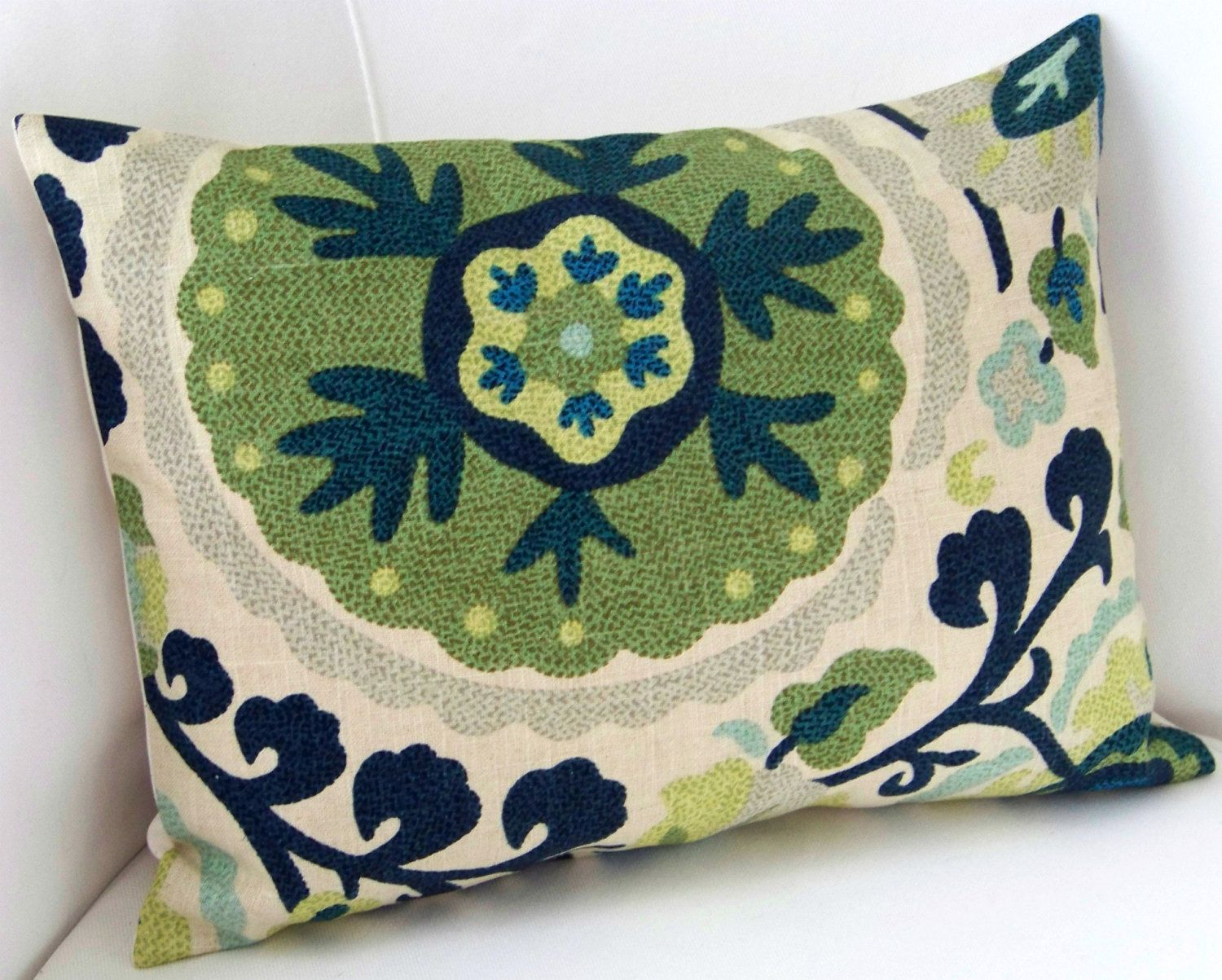 Suzani Pillow Cover Blue Green Pillow Lumbar Pillow Throw Pillow