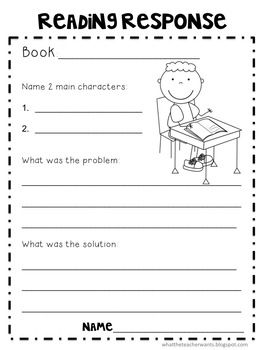 Reading Responses With Images Reading Response First Grade