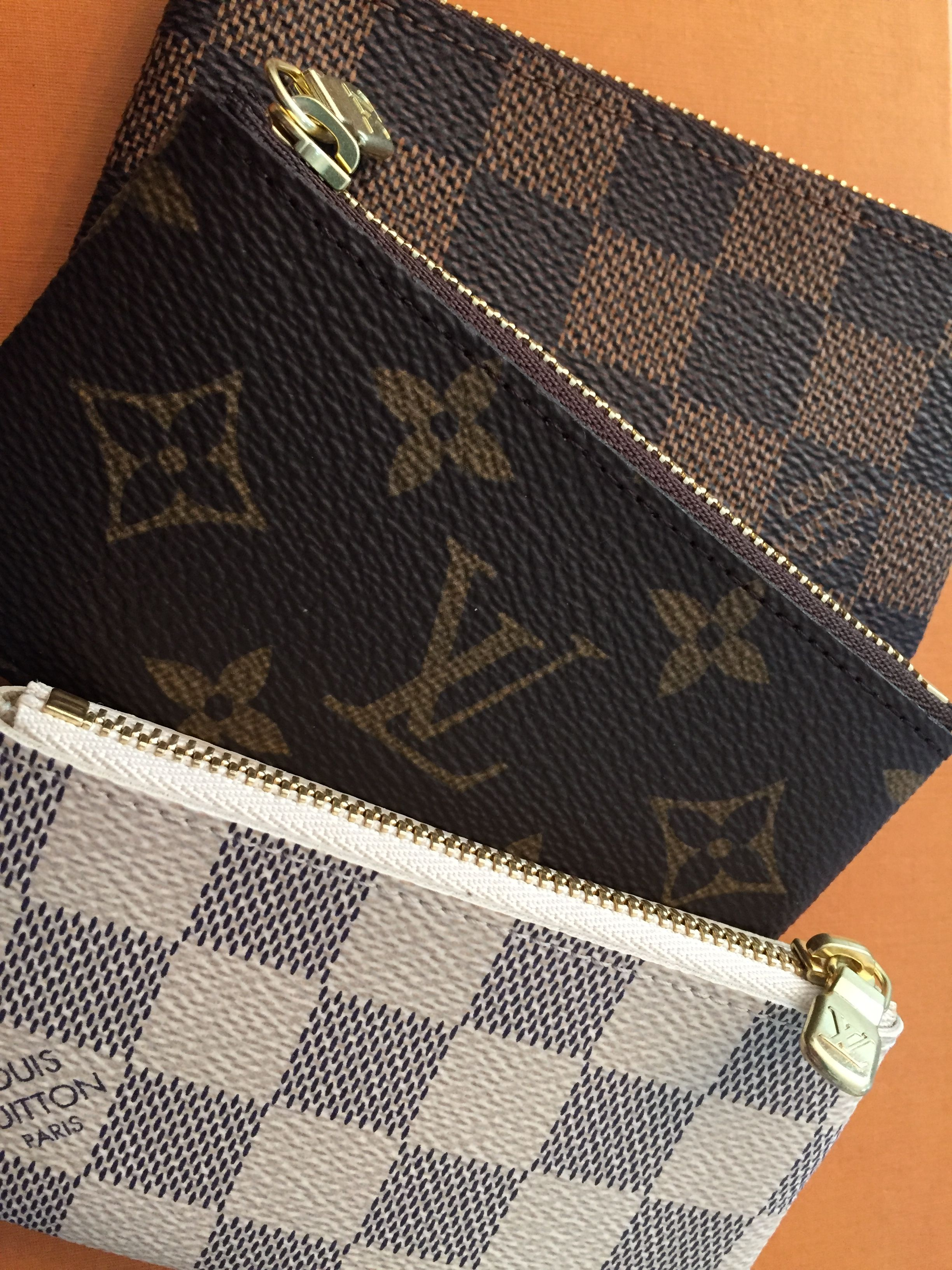 The trifecta - Louis Vuitton cles (key pouch) in Damier Ebene, Monogram, and Damier Azur