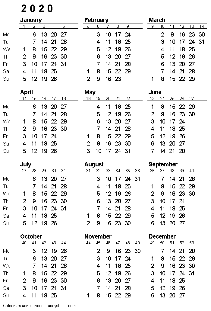 Week By Week Calendar 2020 Printable calendar 2020, Monday week start, ISO week numbers