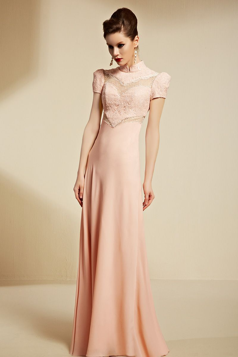 Coniefox Light Pink Embroidery High Collar Aline Long Prom Dresses
