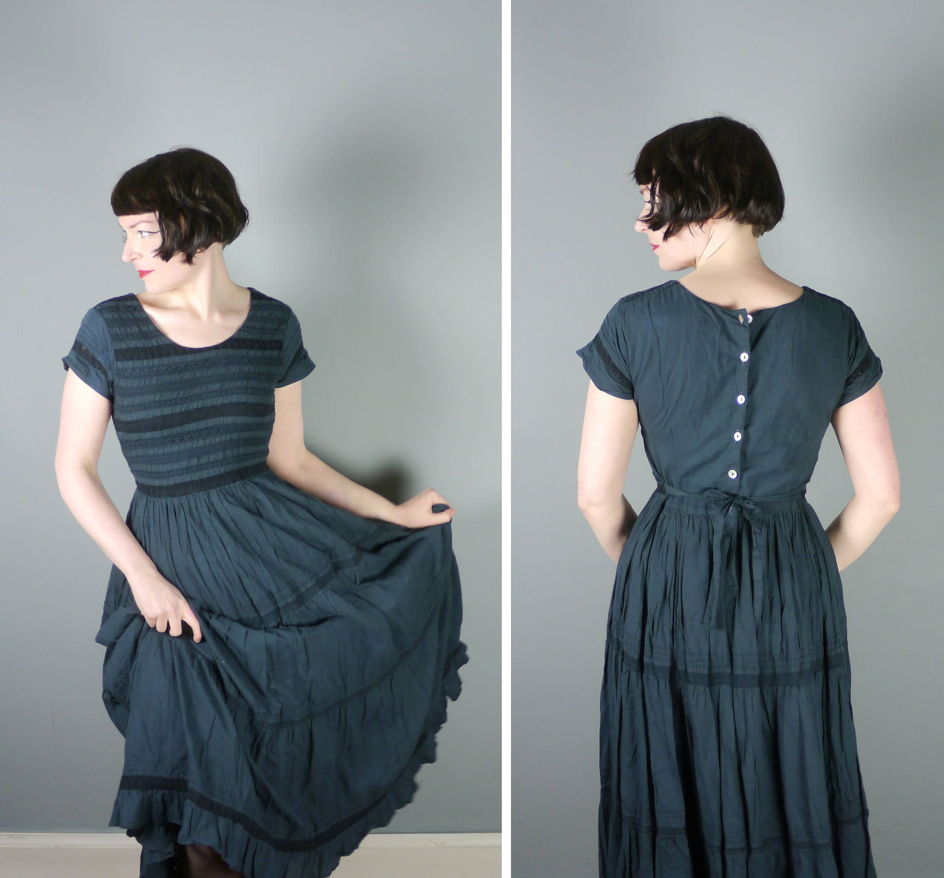 80s PEASANT maxi dress but back buttoning and flowing skirt ...