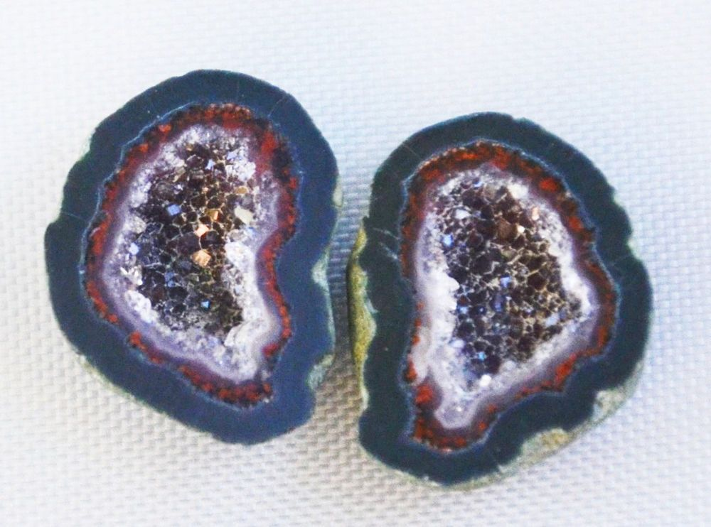 Tabasco Geode 1 Pair Cut and Polished Great for Jewelry Making 9253