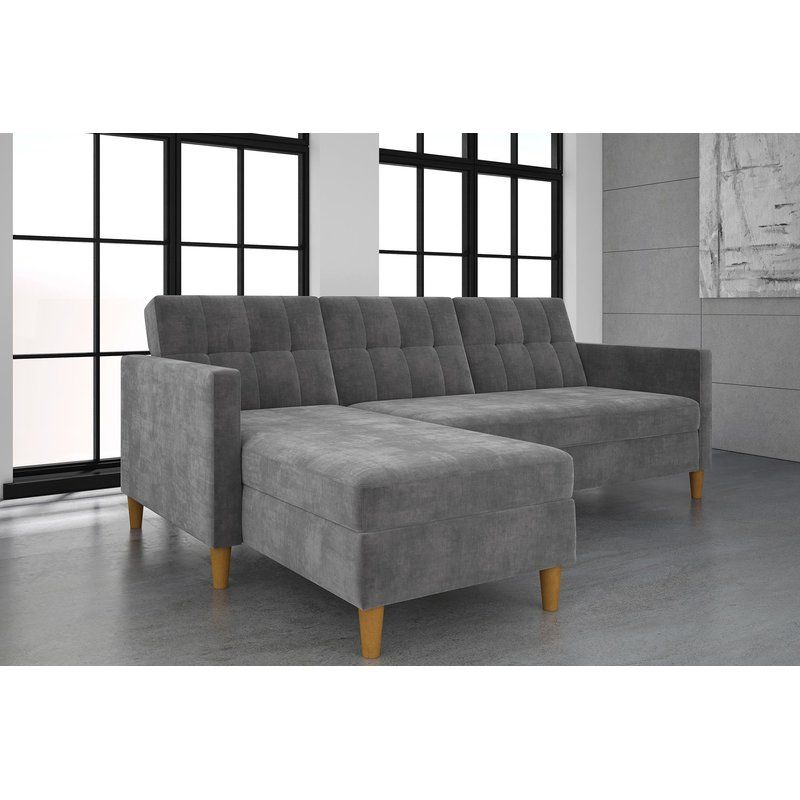 This Stigall Futon Storage Reversible Sleeper Sectional Is