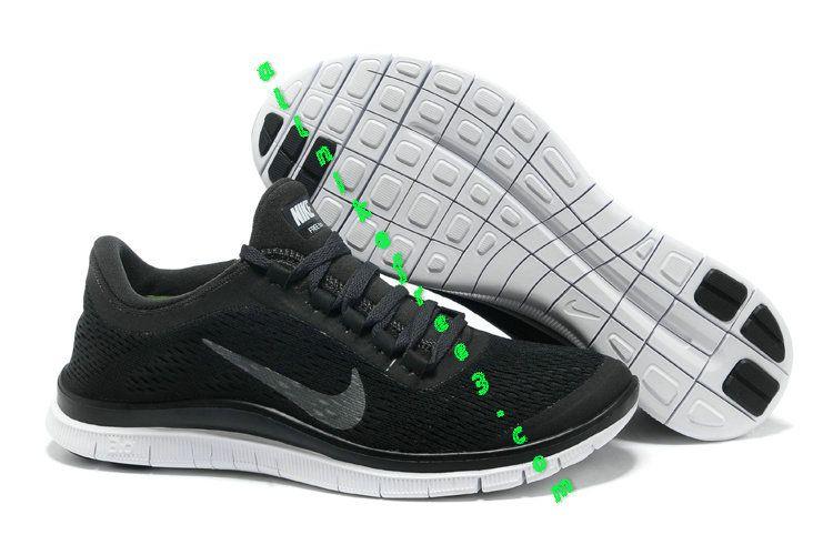 Mens Nike Free Black Metallic Silver Anthracite Shoes Nike Free Run 3 -