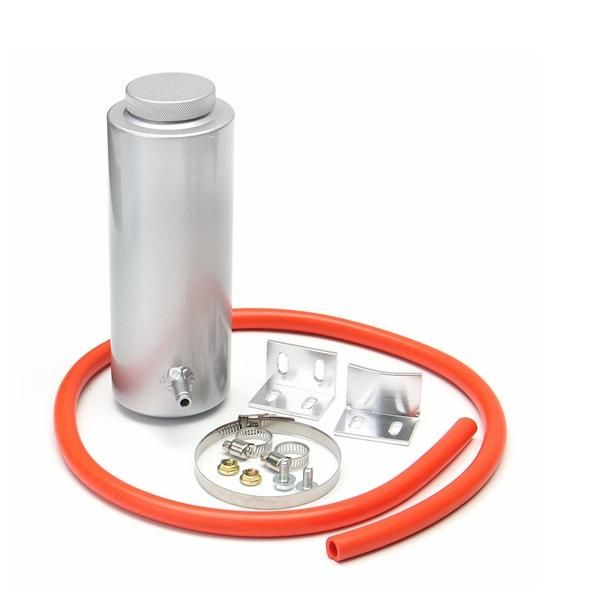 800ml Silver Cylinder Radiator Overflow Reservoir Aluminum Coolant