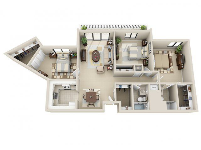 3 Bedroom Apartment Floor Plans 3d 3d floor plan image 2 for the 3 bedroom floor plan of property
