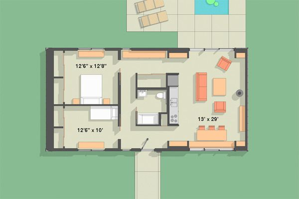 Modern Style House Plan - 2 Beds 100 Baths 1104 Sq/Ft Plan #918-3