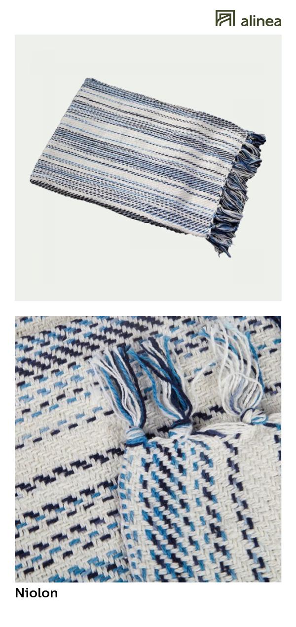 Alinea : Niolon Plaid En Coton à Rayures 130x170cm Textile