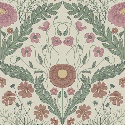 "Bungalow Rose Bondilla Marguerite Damask 33"" L x 20.5"" W Smooth Wallpaper Roll 