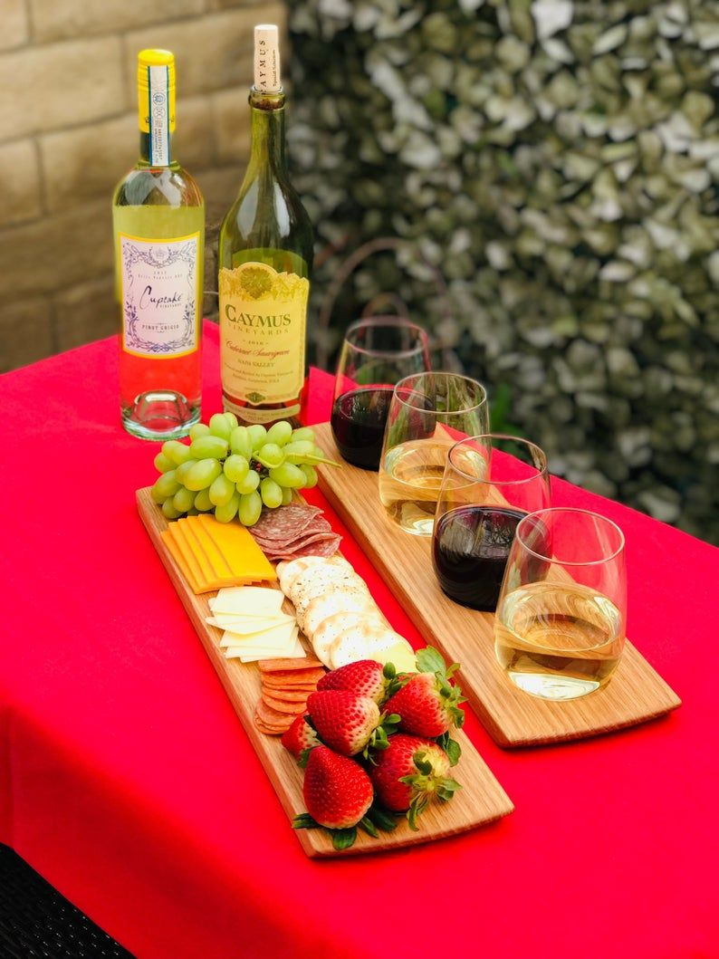 Wine Flight Charcuterie Board Set Solid Oak 4 Stemless Etsy In 2020 Charcuterie Charcuterie Board Wine Glass Set