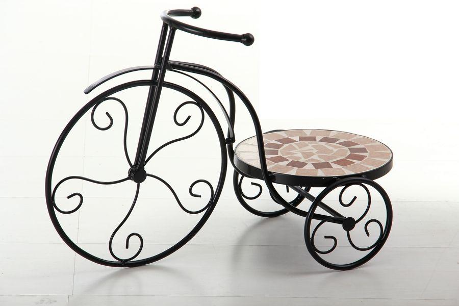Macetero de triciclo con mosaico y forjan para decorar la for Accesorios para terrazas