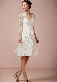Knee Length V Neck Sheath Column Chiffon With Lace Destination Wedding Dress 1300103396b