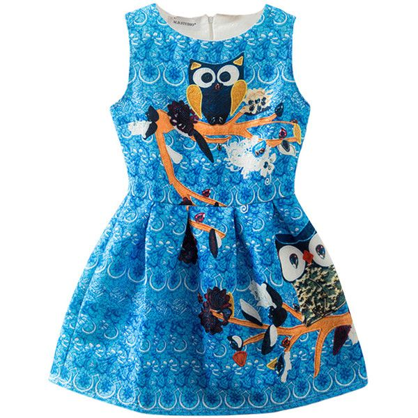 Blue Cute Ladies Owl Pattern Retro Crew Neck Skater Dress ($23) ❤ liked on Polyvore featuring dresses, blue, owl dress, retro-inspired dresses, retro style dresses, retro day dresses and crew neck dress