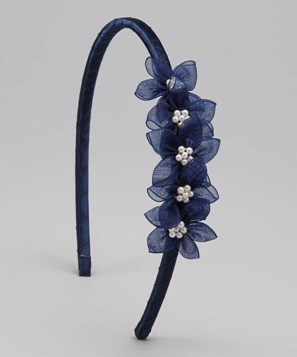 Loving this Navy Blue Blossom Headband on #zulily! #zulilyfinds