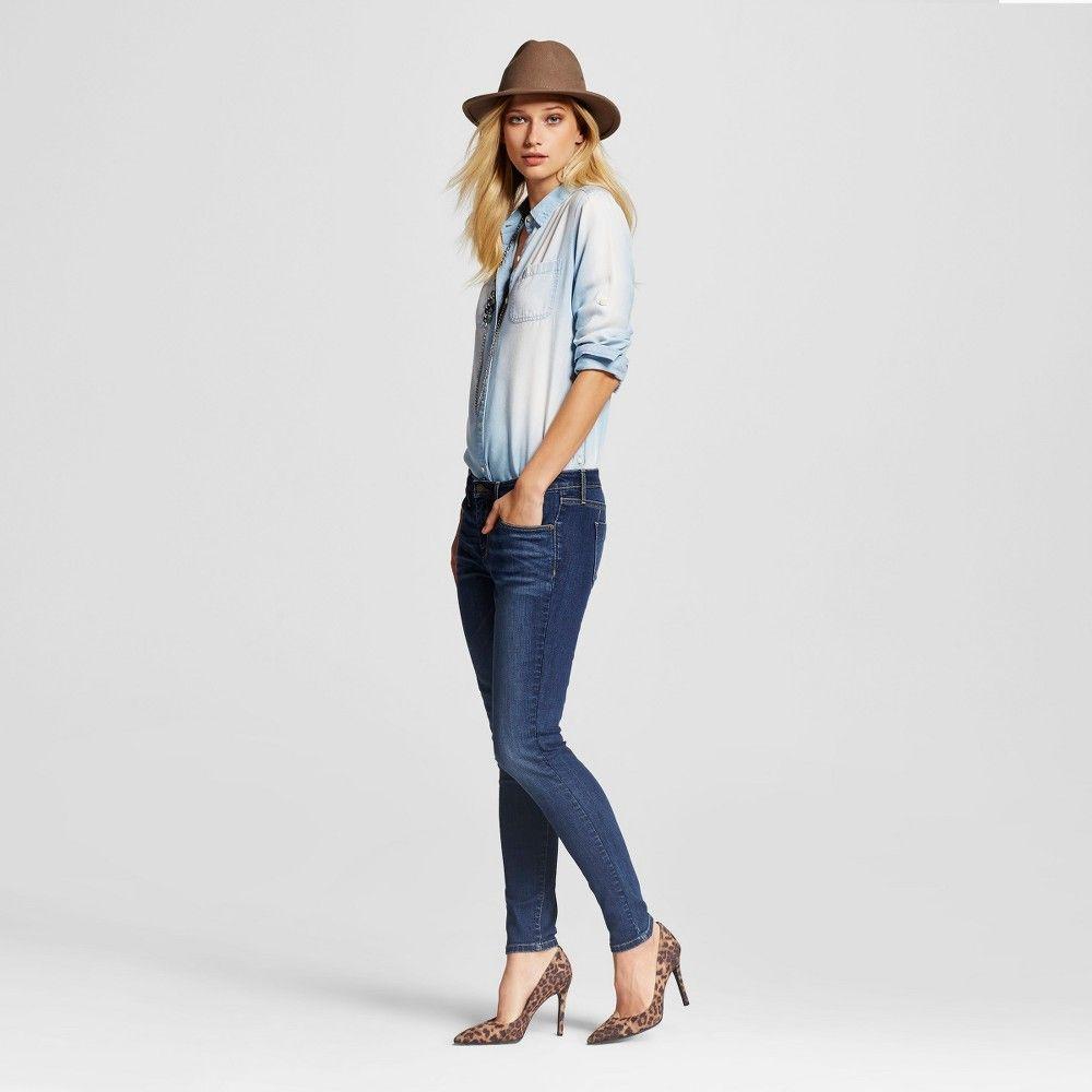 a9e613748b01a Women s Midrise Skinny Jeans Dark Wash 0 Short - Mossimo