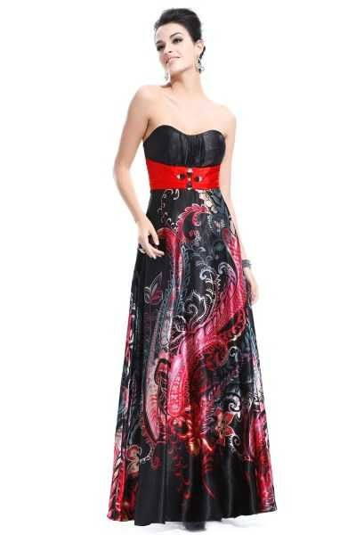 Vine Paisley Satin Long Dress NZD $83.99   A stunning ball dress in warm lush colours contrasted by a bold red sash.     Features:   - Padded bust   - Strapless (includes hooks for detachable straps - straps not included)   - Rhinestone decoration at the waist   - No stretch, easy fitting - concealed back zip   - Fully lined        Size 8  Bust: 83cm - 89cm  Waist: 64cm - 70cm  Hips: free to 130cm   Length: 131cm