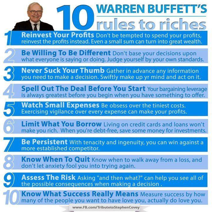 Warren Buffet\'s 10 Rules to Riches... #WarrenBuffettsSecrets ...