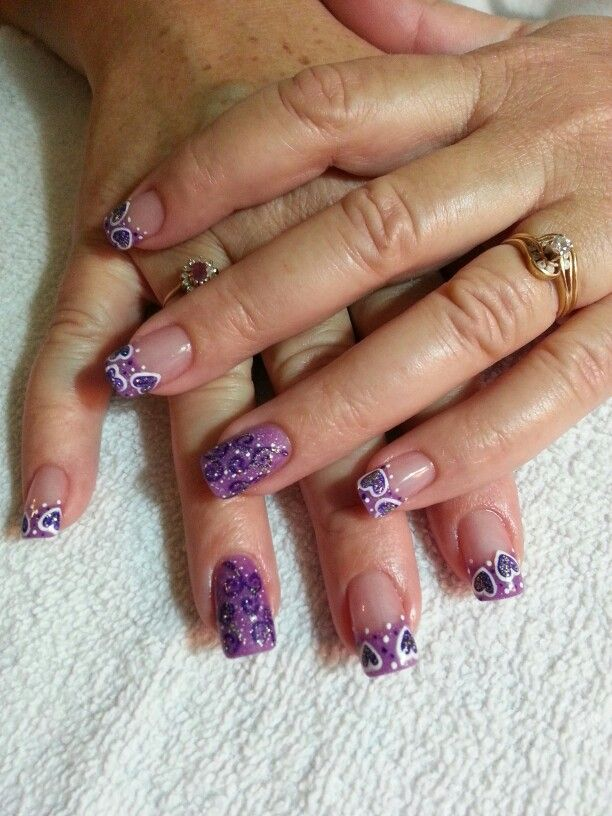 Purple Valentine\'s nail art. Model: Cindy. Nails by Jillian | Nails ...