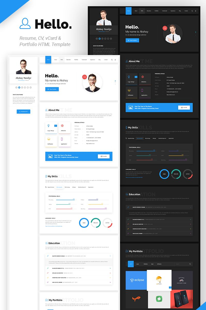 Hello Resume Cv Vcard Portfolio Website Template Website Template Profile Website